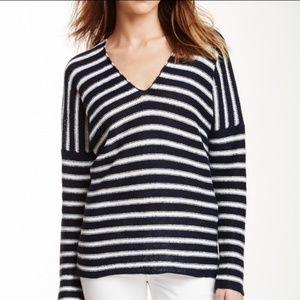 Vince | Navy and White Striped Linen Sweater